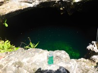 Diving into a Cenote, Tulum, Mexico
