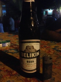 Drinking a Belkin in Belize