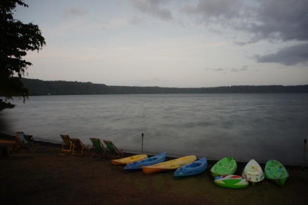 Kayaks at dusk