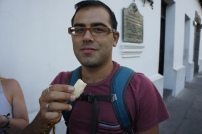 Eating canillitas de leche - a very sweet milky candy