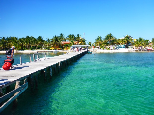 Walking onto Caye Caulker from the ferry